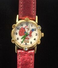 Vintage Santa Claus Women's Wristwatch Red Band Sparkly Christmas