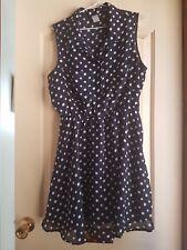 Cute dark blue white polka dot dress SIZE 14 16