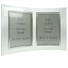 Curved Bevelled Glass Silver 7x5 Photo Frame Double Vertical