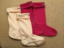 HUNTER Cream, Town And Country Pink Ladies Size 3-5 M Welly Socks