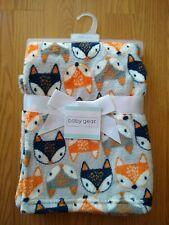 Baby Gear Baby Blanket Fox Heads Orange Navy Blue Infant New Nwt Nip