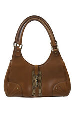 *GUCCI* TAN LEATHER AND CANVAS JACKIE TOTE BAG (M)