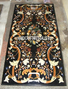 Black Marble Dining Table Top Scagliola Inlay Art Home Living Outdoor Deco H3137