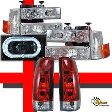 94-98 Chevy C10 CK Silverado Tahoe Suburban Halo Headlights Set + Tail Lights