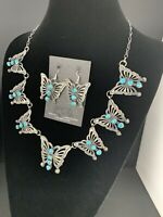 Navajo Squash Kingman Turquoise Butterfly Sterling Silver Necklace Earrings 270