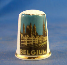 Birchcroft China Thimble - Travel Poster Series - Belgium - Free Dome Gift Box
