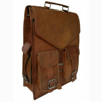 Unisex Genuine Leather Men's Backpack Bag laptop Satchel briefcase Brown Vintage
