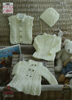 KNITTING PATTERN Baby Cable Coat Jumper Waistcoat & Hat Aran King Cole 5223