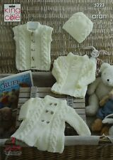 Knitting Pattern Baby Câble Manteau Pull Gilet & Chapeau Aran King Cole 5223
