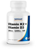 Nutricost Vitamin K2 (100mcg) + Vitamin D3 (5000 IU) 120 Softgels - Gluten Free