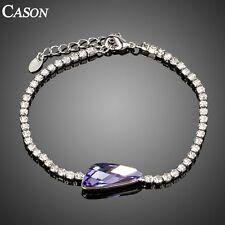 Purple Austrian Crystal Tennis Bracelet White Gold Plated Cubic Zirconia Bangle
