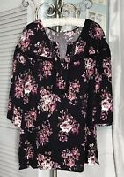 NEW Plus Size 1X 2X Black Pink Rose Peasant Blouse Floral Shirt Top