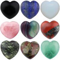 "Carved Puff Heart Love Pocket Worry Stone Healing Palm Crystal Reiki Chakra 0.8"""