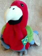 Barrot Parrot beanbag Brazil flag Coca Cola bottle 7in 5 up Coke cap tag