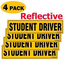 """(4pc) 12""""x3"""" Highly Reflective Magnet Car Safety Caution Sign for Student Driver"""