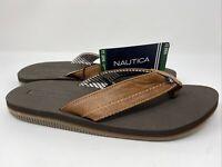 Mens Nautica Flip Flop Brown Nam-clark Slip On Sandal Beach Summer Wear Size 12