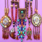 Boho Wodden Beaded Long Necklaces Ethnic Stone Wood Beads Pendant For Women