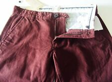 mens PANTS TROUSERS SELLECTED  HOMME  31/32 PLUM  100% cotton BRAND new tag