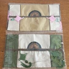Asian Tissue Box Holder Cover Set of 2 Olive Green Brown