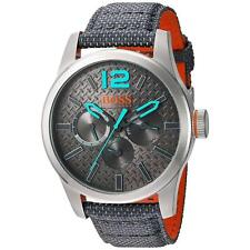 HUGO BOSS MEN'S 47MM GREY RESIN BAND STEEL CASE QUARTZ ANALOG WATCH 1513379