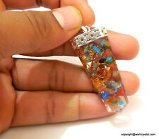 Orgone 7 Chakras Natural Stones Crystal Healing Energy Silver Plated Pendant.