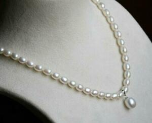 """18"""" AAA+ 5-6mm real natural akoya white rice Type pearl necklace 14k white clasp"""