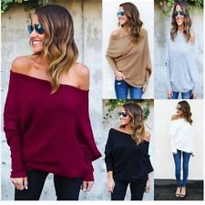 Womens Off the Shoulder Chunky Jumper Ladies Oversized Baggy Shirts Top Sexy SK