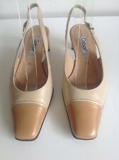 Gabor Fashion Beige Pearl Two Tone Slingback Shoes Size 4.5 Boxed