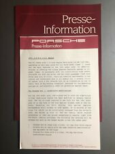 1991 Porsche Full Line Factory Press Kit, Press Release, Pressemaappe RARE!!