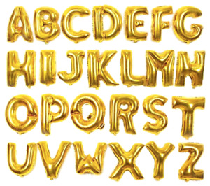 "16"" GOLD 40cm AIR FILL LETTER FOIL BALLOON ANAGRAM BIRTHDAY WEDDING UK SUPPLIER"