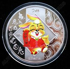 Lovely 2011 Wealth Cartoon Rabbit Lunar Zodiac Colored Silver Coin Token 60mm