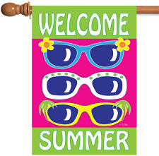 Toland Welcome Summer 28 x 40 Colorful Sunglasses Shades House Flag