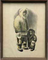Grönland Inuit Eskimo Mutter mit Kind Druckgrafik 50 x 39 cm 60er Jahre
