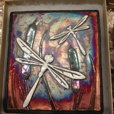 Dragonfly Raku Wall Art - handmade, handsigned - NEW