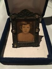 Antique Miniature Picture Frame School Girl Photo