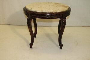 French Louis XV Style Walnut Marble Top Oval Carved Coffee Table, 19th Century