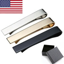 US 3pcs Mens Steel Solid Skinny Black Gold Silver Necktie Clasp Pin Tie Clip Bar