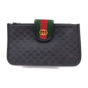 Gucci Accessories Pouch Bag pretty big capacity Black PVC 1520862