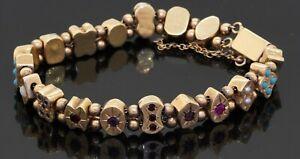 Antique heavy 14K gold turquoise amethyst sapphire opal+ slide charm bracelet