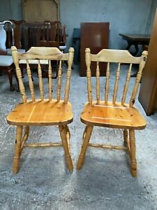 Solid Natural Wooden Farmhouse Style Kitchen Dining Chairs x 2