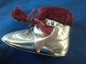 SUPERB Vintage Sterling Silver SHOE / BOOT Pin Cushion h/m 1920 Levi & Salaman