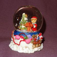 "Santa Claus Small Snow Globe 3"" Christmas Tree Boy Mailing Letters Figurine"