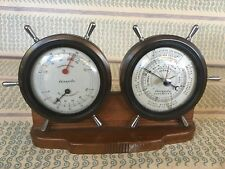 Antique Airguide Barometer Thermometer Nautical Desktop Weather Station