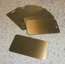 """(10) NEW BLANK ENGRAVABLE BRASS LUGGAGE TAGS 2"""" x 3.5"""" SATIN GOLD 20g ENGRAVING"""