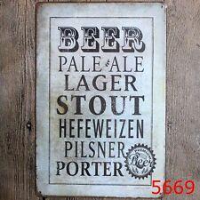 Metal Tin Sign marks of beer Bar Pub Home Vintage Retro Poster Cafe ART