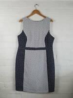 Bhs Navy Blue White Polka Dot Sheath Dress Office Smart Ocassion Size UK 20