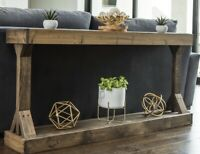 Rustic Sofa End Console Table Solid Wood Entryway Living Room Storage Display