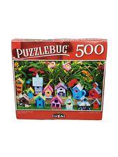"Puzzlebug 500 Piece Jigsaw Puzzle ""GARDEN BIRDHOUSES"" 18.25""x11"" Family Fun"