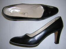 BALLY * 9 AA Narrow * Classic Black Leather Contrast Stitching Heels Shoes Italy