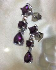 2 Ct, Natural, Rhodolite Garnet Earrings, Dangle, Platinum On Sterling Silver